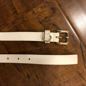 Michael Kors White Leather Belt